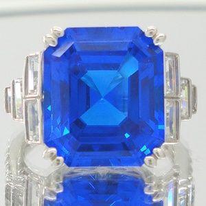 Designer Jean Dousset Simulated Blue Sapphire Ring